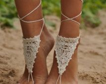 BLACK FRIDAY SALE Crochet Ivory Barefoot Sandals, Nude shoes, Foot jewelry, Wedding, Victorian Lace, Sexy, Yoga, Anklet , Bellydance, Steamp