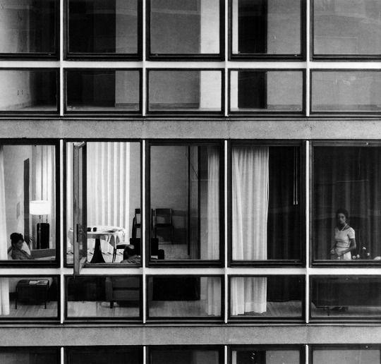 "Apartment building at Via Fezzan Milan, Lombardy, Italy; 1958  Angelo Mangiarotti, Bruno Morassutti  see map   more about the architect   + images 1, 2 via ""Angelo Mangiarotti: opera completa"", François Burkhardt; Motta Architettura, Milan (2010)"