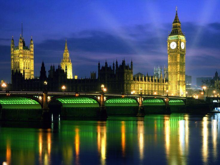 Westminster, England Buckingham Palace at night