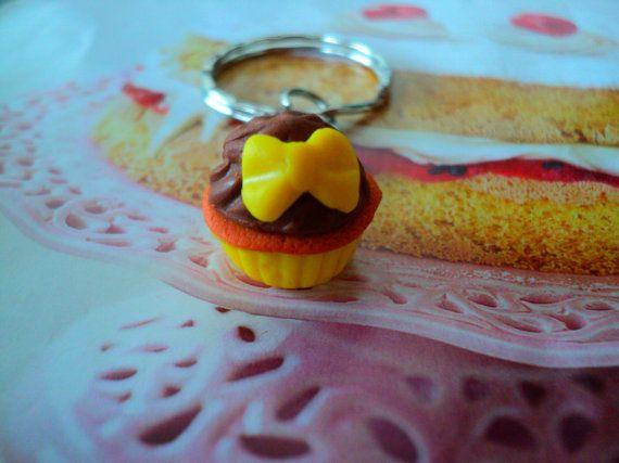 key chain cupcake miniature food polymer clay by EVELjewlery