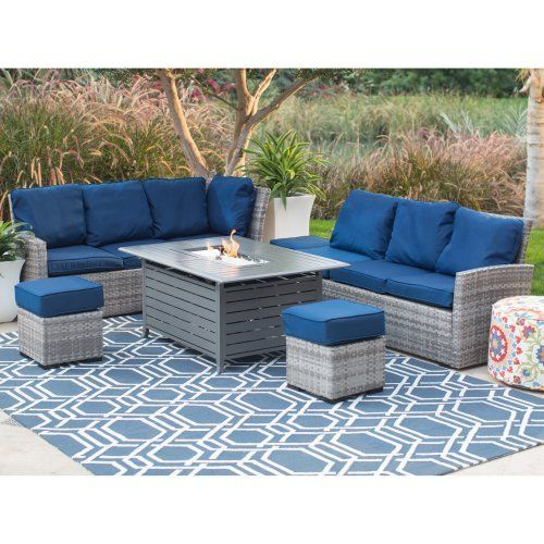 Belham Living Brookville All Weather Wicker Sofa with Longmont Fire Pit Table - Fire Pit Patio Sets at Hayneedle