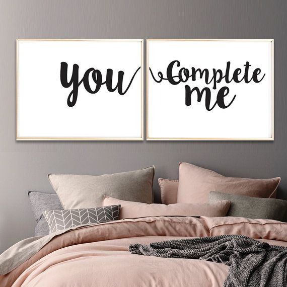 You Complete Me Art Print Set of 2 Black and by SubloadTravellers