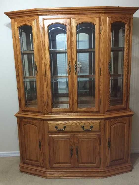 honey oak china cabinet with lights 0d 0afine furniture like new rh pinterest com