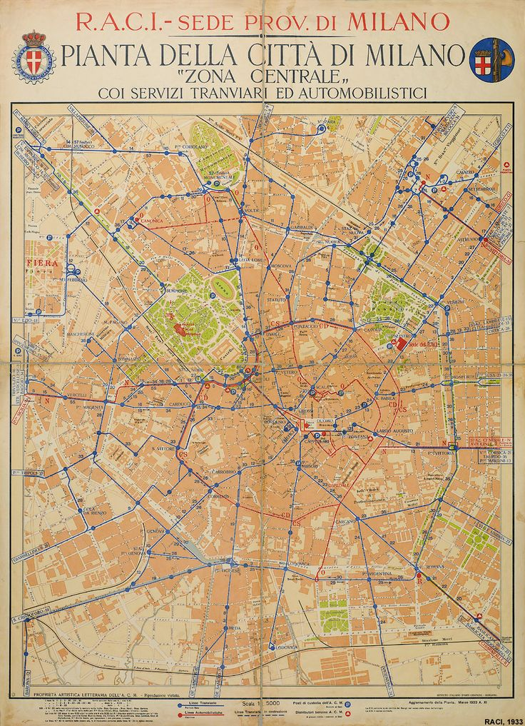 1933 Map - The old Milan central station is still there, waiting to be demolished