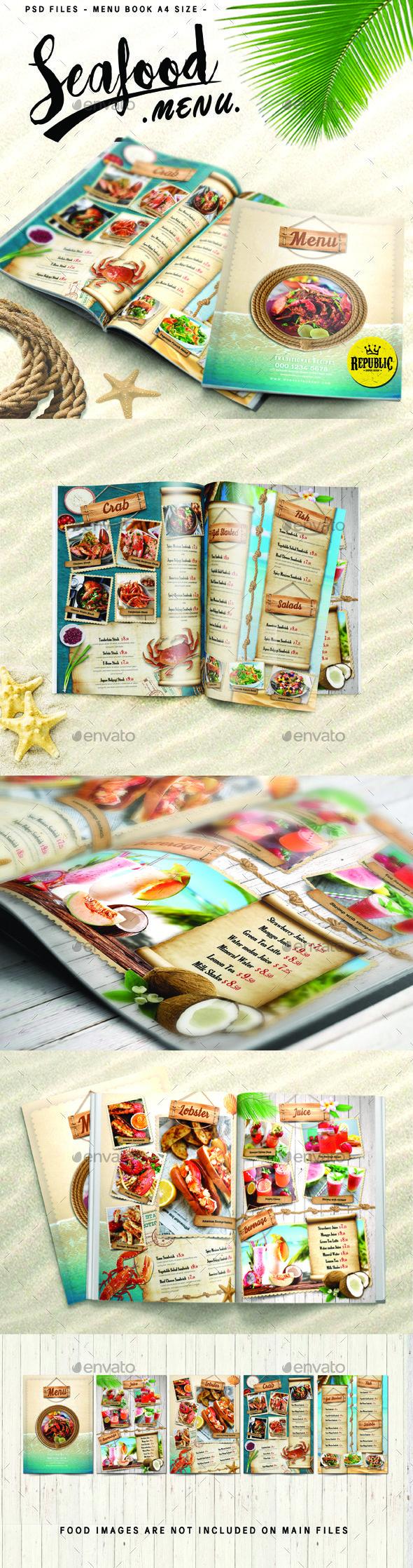 Seafood Menu - Food Menus Print Templates Download here : https://graphicriver.net/item/seafood-menu/19220640?s_rank=82&ref=Al-fatih