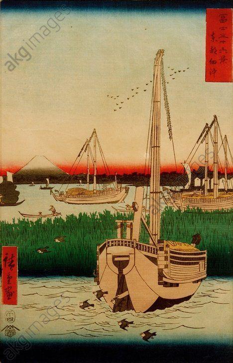 "A.Hiroshige, ""L'île Tsukuda devant Edo"". Hiroshige, Ando ; 1797–1858. ""toto tsukuda oki"" (l'île Tsukuda devant la capitale (Edo) vue depuis la mer), 1858. De la série : ""36 vues du Fuji"" (fuji sanjurokkei). Gravure sur bois coul., H. 0,36 ; L. 0,24. Inv. Nr. j 0176"