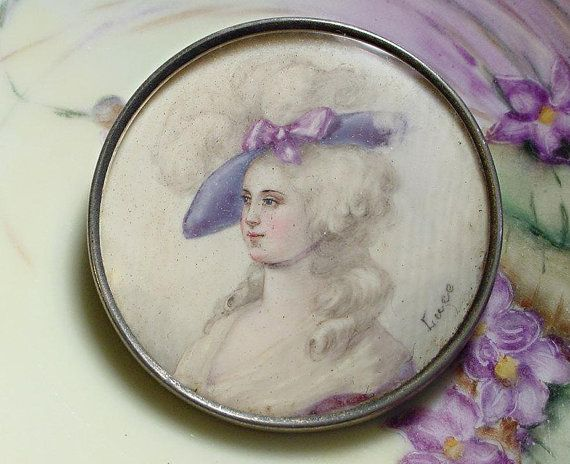 Miniature Portrait Brooch Hand Painted by Luce  18th: Antique