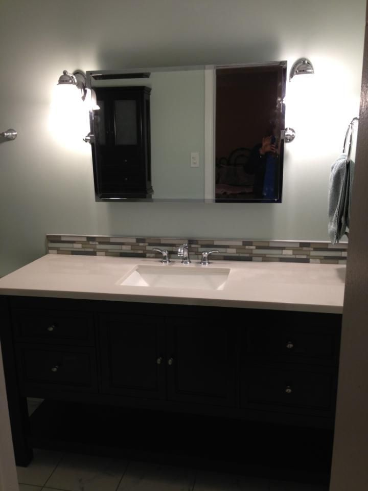Bathroom Remodel New Vanity With Tile Backsplash