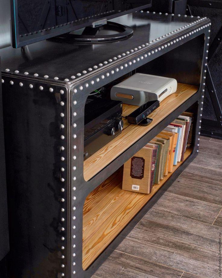 Купить ТВ тумба, открытый комод - индустриальный стиль, индастриал, лофт, Мебель, промышленные