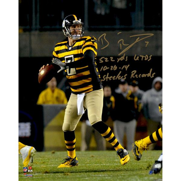 """Ben Roethlisberger Pittsburgh Steelers Fanatics Authentic Autographed 8"""" x 10"""" Dropback Pass vs. Indianapolis Colts Photograph with Steeler Record Inscriptions - Limited Edition 2-49 of 50 - $499.99"""