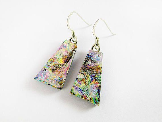 Dichro Dangle Earrings Pink Earrings Sterling Silver Wires