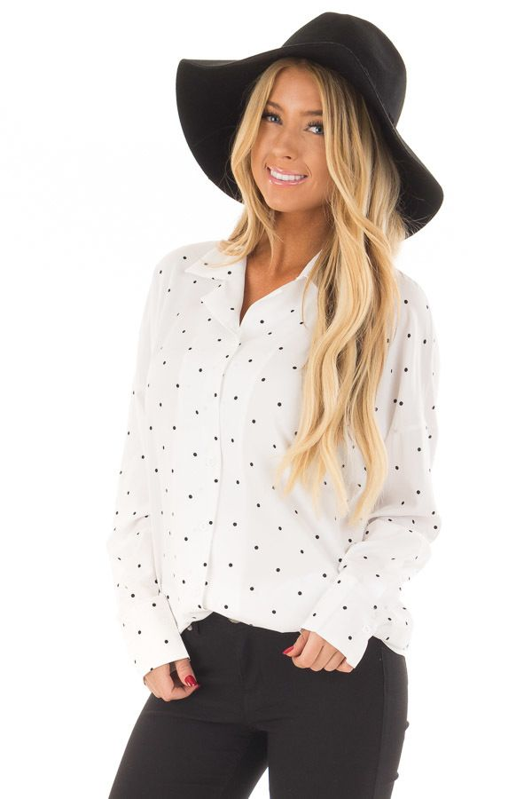 dfb846eb4490 Lime Lush Boutique - White and Black Polka Dot Button Up Blouse, $42.99  (https