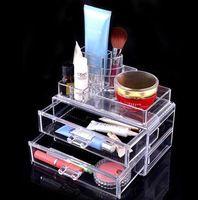 8 Grids Maquillaje Organizador plástico Caja de almacenamiento con 2 cajones Maquillaje Organizadores Lipstick sostenedor de la exhibición Organizador del caso cosmético