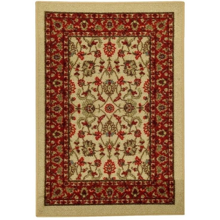 Rubber Back Ivory Traditional Floral Non-Slip Door Mat Rug (1'6 x 2'6) (5082-1X2), Green, Size 2' x 3' (Nylon, Border)