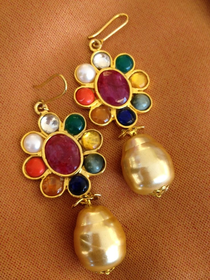 The navaratna drops, with 9 semi-precious stones in varied hues