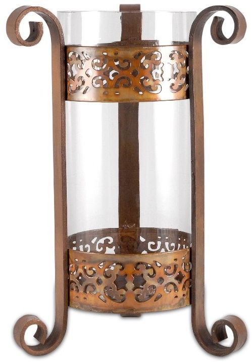 This copper hurricane would look great with some dried rice or coffee beans in the bottom with a large candle inside.