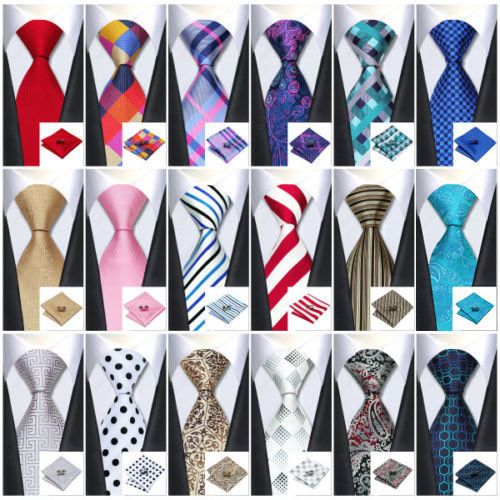 228b1bbe7ea2 USA Classic Mens Tie Red Blue Gold Grey 66 Colors Silk 100% Jacquard Necktie  Set