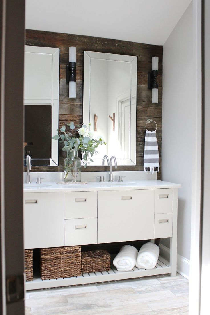 Design Indulgence BEFORE AND AFTER Modern Rustic Bathroom Makeover Love The Wood Wall Behind Mirrors