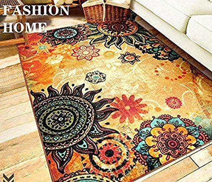 Amazon.com: MeMoreCool Fashion Home,Designer Boho Retro Style Living Room Floor Carpets,Colorful Upscale Home Decoration Mats,Elegant Washable Bohemia Rugs: Kitchen & Dining