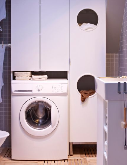 Laundry cabinets designed for bathrooms