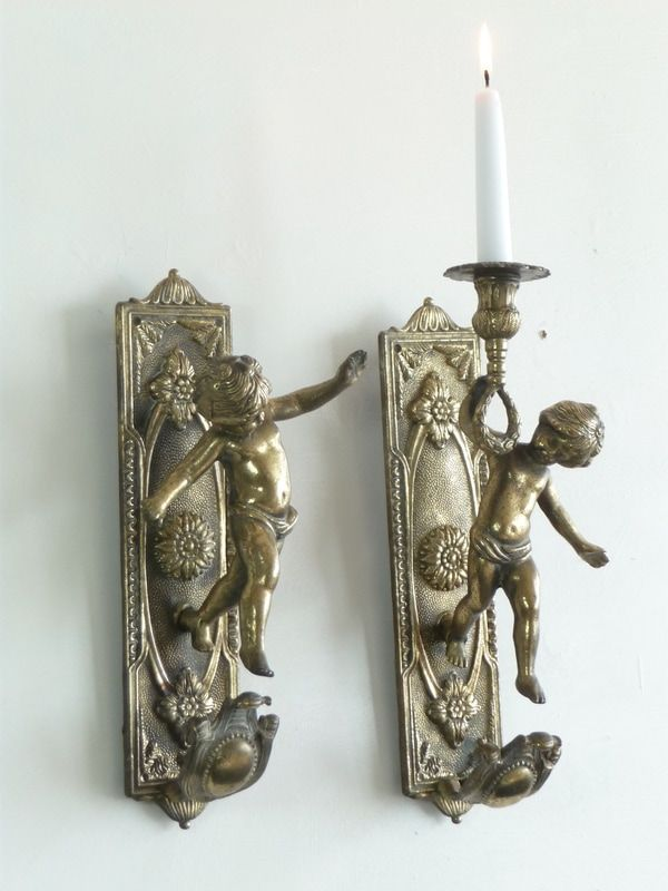 Pair of Reclaimed Antique French Cherubs