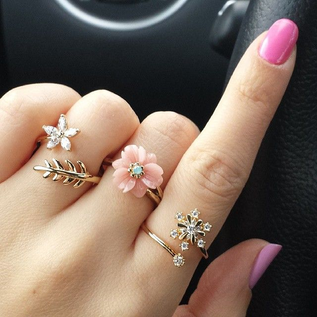 The rings go gorgeously with her nails