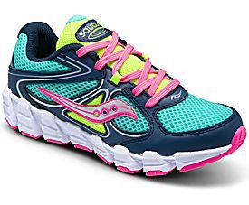 Saucony Kids Girls Kotaro Turquoise Navy and pink running shoe