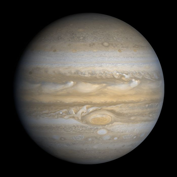 """Jupiter - The planet Jupiter is the fifth planet out from the Sun, and is two and a half times more massive than all the other planets in the solar system combined. It is made primarily of gases and is therefore known as a """"gas giant""""."""