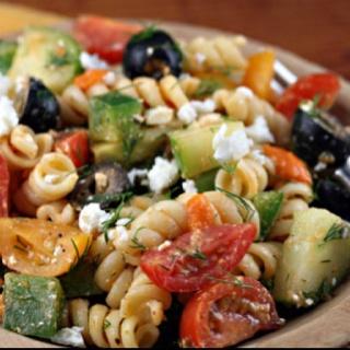 Greek pasta salad with sun-dried tomato vinaigrette...