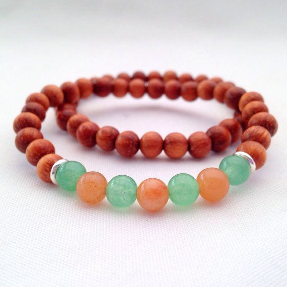 Bayong wood bracelet with red and green Adventurine - wooden bracelet - wooden stacking bracelet