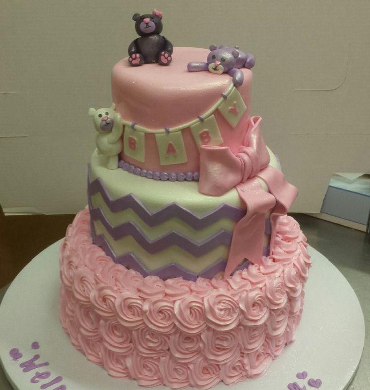 Calumet Bakery Teddy Bears, Chevron, And Rosette Baby Shower Cake