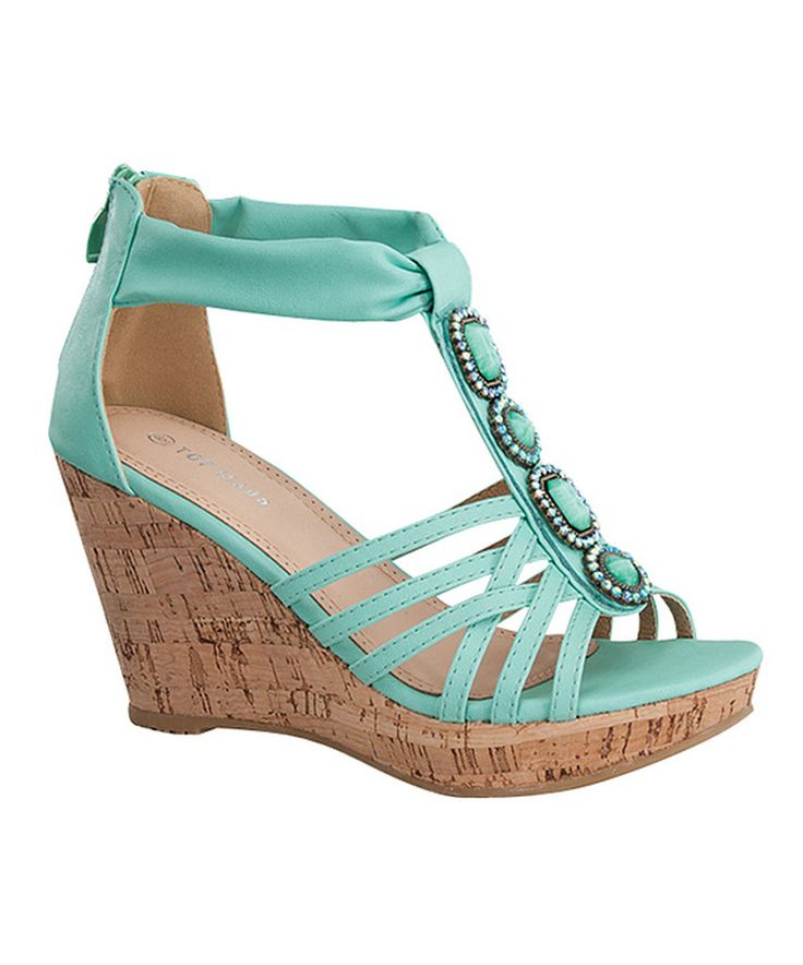 Another great find on #zulily! Teal T-Strap Embellished Wedge Sandal by TOP MODA #zulilyfinds