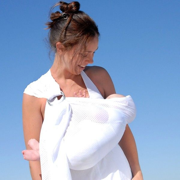 Breeze Baby Ring Sling- White- Babywearing and carrying baby is SO easy and safe with Breeze Baby Ring Sling-style baby carriers.