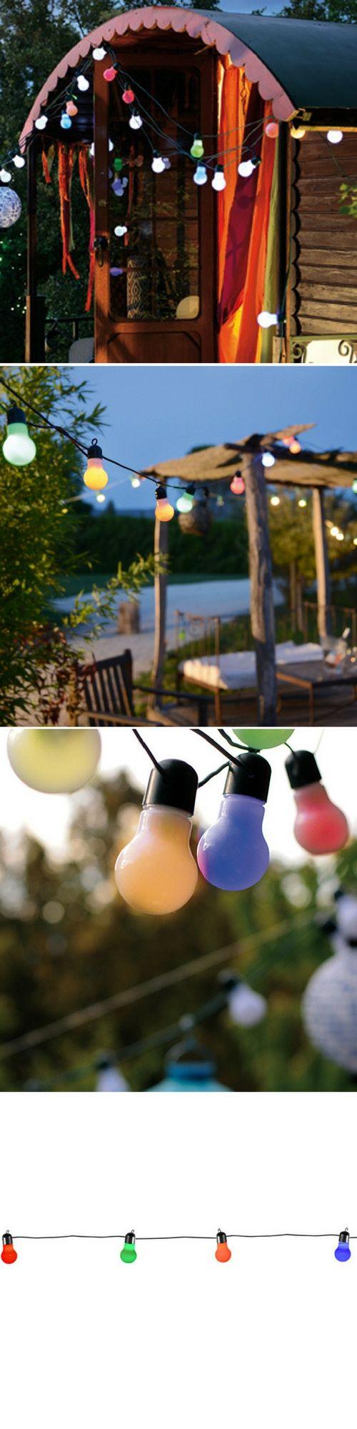 Une jolie guirlande lumineuse pour l'extérieur, le jardin, la terrasse ou le balcon, style guinguette  Guirlande lumineuse ginguette 15 lampes couleur 45 led Blachère