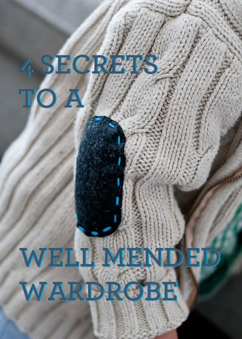 """""""4 Secrets to a Well-Mended Wardrobe"""" - great tips for extending the life of clothing in cute, easy ways! #DIY #homemaking #frugal"""