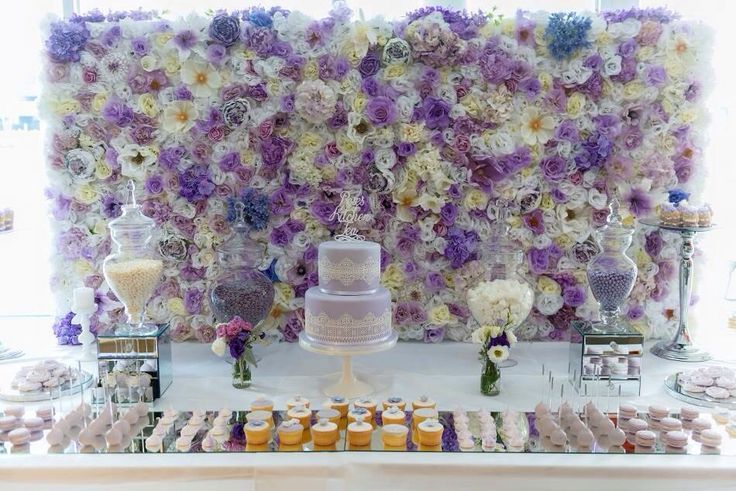 The Luscious Lilac wall at a beautiful kitchen tea #whiteluxe #flowerwall #melbourne