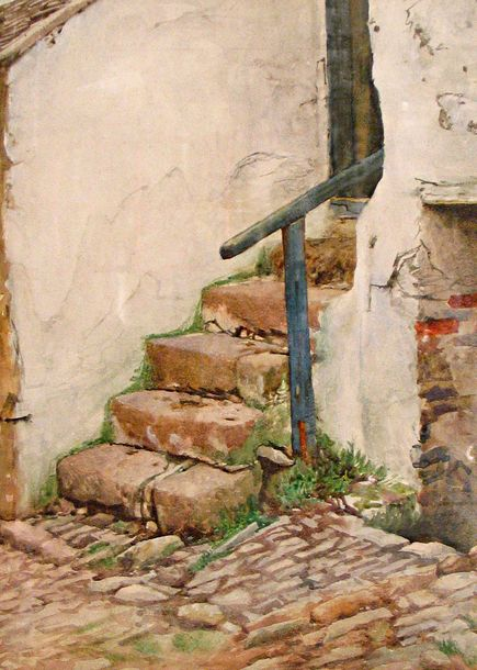 Walter Langley: Cottage steps, Newlyn, watercolor on paper- Penlee House Gallery and Museum Penzance Cornwall UK