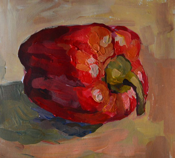 Red pepper painting by Victoria Duryagina. Acrylic on paper. #acrylicpainting #painting #redpepper #art