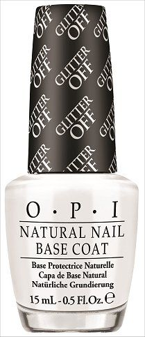 OPI Glitter Off Base Coat! It allows you to peel off a glitter manicure in seconds! (Click through to see the official press release about it and step-by-step photos showing you how to use it.)