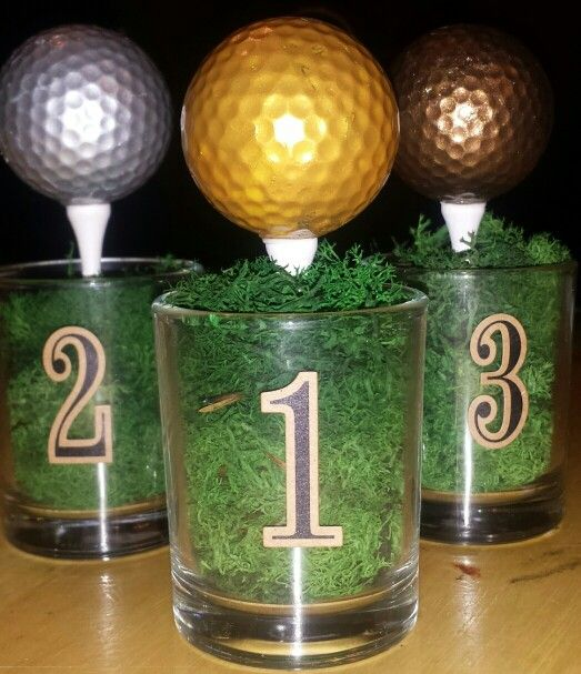 Miniature Golf Trophies...votive candle holders, metallic acrylic paint…