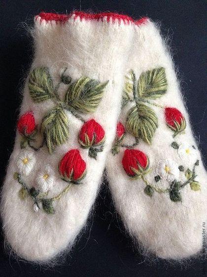 Варежки с вышивкой Клубничные - варежки,вышивка,клубника,ручная работа