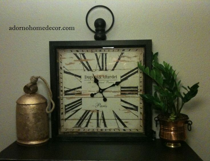 Details About Large Metal Square Wall Clock Paris Rustic