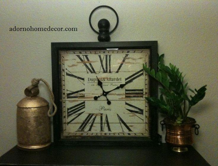 details about large metal square wall clock paris rustic decor industrial vintage antique - Large Decorative Wall Clocks