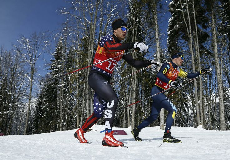 DAY 13:  Simeon Hamilton of the USA and Nikolay Chebotko of Kazakhstan compete during the Cross Country Men's Team Sprint Classic http://sports.yahoo.com/olympics