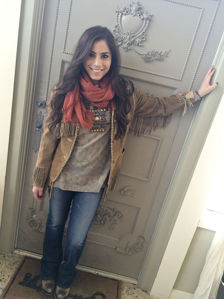 Mariana is all bundled up in style with our #fringe coat, #ddranch top, #libertyblack boots & Big Star jeans!  Get her look here:  http://www.melissabengecollection.com/