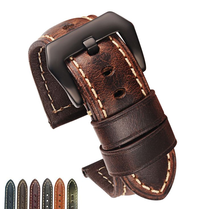 22 24mm Brown Coffe Red Black Green Blue Leather Watch Strap Replacement Watch Band with Brushed Black Buckle Calfskin