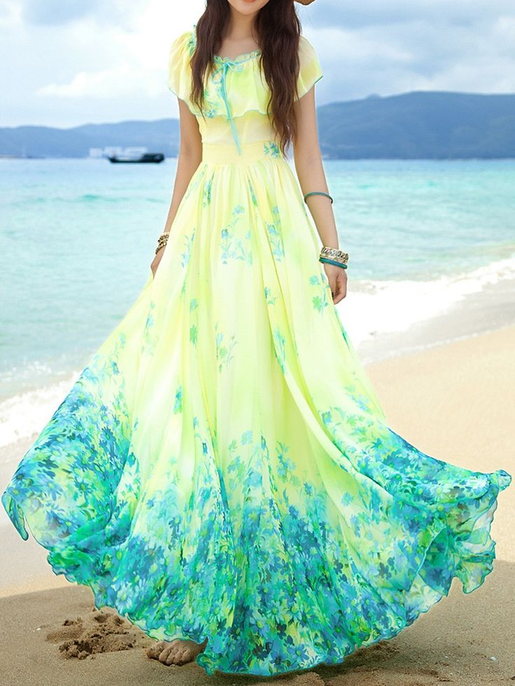 Yellow ruffle and blue floral print maxi dress