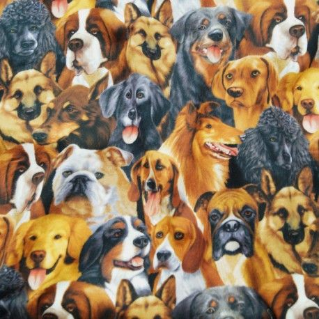 Dogs Puppies Hounds 100% Cotton Flannel Fabric