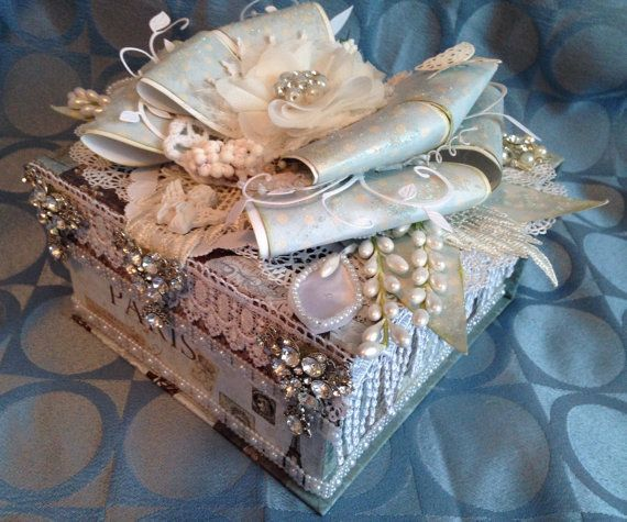 Shabby chic wedding box bling box custom box by customcardsbysarah