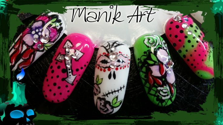 #halloween #nailart #nails #design #pink #green #ongle #rose #vert #original